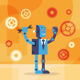 Modern Robot Wear Business Suit Hold Spanner Wrench Royalty Free Stock Image