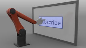 Modern robotic arm pushing Subscribe button. Automated social media promotion concept. Seamless loop, 4K clip, ProRes