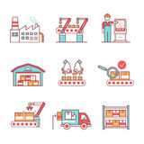 Modern robotic, manual manufacturing assembly line. Modern robotic and manual manufacturing assembly lines. Packaging, loading and warehouse inventory. Thin line vector illustration