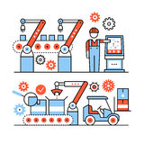 Modern robotic and manual manufacturing assembly. Lines. Packaging and loading with forklifts. Thin line art icons set. Flat style illustrations isolated on Stock Photo