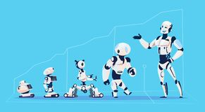 Modern Robots Group, Futuristic Artificial Intelligence Mechanism Technology. Flat Vector Illustration Royalty Free Stock Images