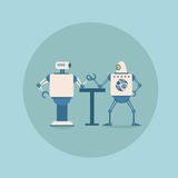Modern Robots Playing Arm Wrestling Concept Futuristic Artificial Intelligence Mechanism Technology. Flat Vector Illustration Royalty Free Stock Photography