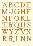 Modern roman alphabet. With proportional capital letters in editable  file Royalty Free Stock Images