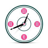 Modern Roman Numeral Analog Clock Symbol. Vector Time Icon royalty free illustration