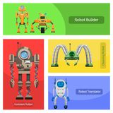 Modern Roobots for Various Needs Illustrations Set. Unusual robots for building constructions, cleaning premises, translation in foreign languages and work Royalty Free Stock Photography