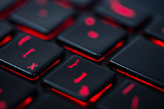 Modern rood backlit toetsenbord, concept Stock Fotografie