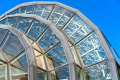 Modern roof construction of a greenhouse. stock images
