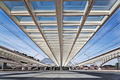Modern roof construction at the station Guillemins in Liège Stock Image