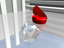 Modern room. Interior in blue-grey gamma with red chair Royalty Free Stock Photography
