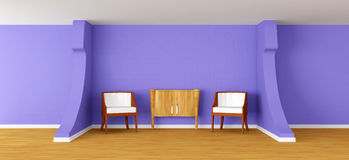 Modern room with armchairs and bureau Royalty Free Stock Photos