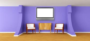 Modern room with  armchairs, bureau and lcd tv Stock Photos