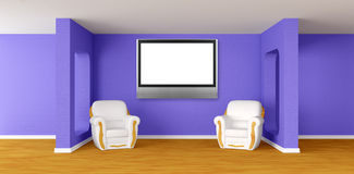 Modern room with  armchairs and lcd tv Royalty Free Stock Images