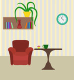 Modern room with chair and table, books shelf and plant. Flat st Stock Photography