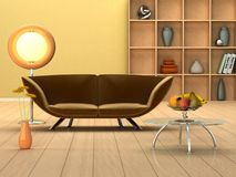 Modern room with a couch. 3D rendering of a modern interior in warm colors Royalty Free Stock Images