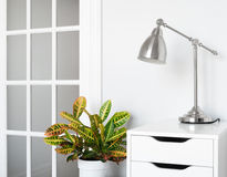 Modern room decor. Green plant, stylish furniture and lighting Stock Image