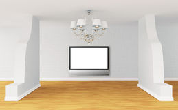 Modern room with flat Tv and chandelier Royalty Free Stock Photos