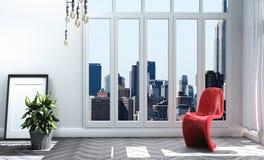 Modern room gray wall on floor wooden. 3D rendering. Mock up Modern room gray wall on floor wooden. 3D rendering royalty free illustration