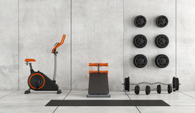 Modern room with gym equipment. Concrete room with stationary bike, abdominal bench and weight - 3d rendering royalty free illustration