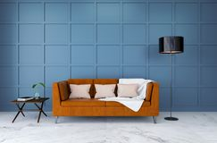 Modern room interior design ,brown leather  sofa with light blue wall ,3d render. Modern room interior,brown leather sofa with light blue wall ,3d render Royalty Free Stock Images