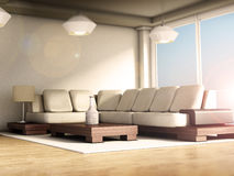 Modern room interior with large windows and parquet floor. 3D illustration Stock Images