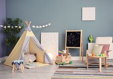 Modern room interior with play tent. For child Stock Photos