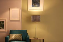 Modern room interior with lamp. Modern room interior with stylish lamp Royalty Free Stock Images