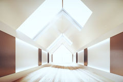 Modern room interior with triangle ceiling and wooden floor, 3D Stock Photos