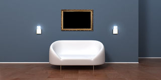 Modern room interior wall with empty frame picture Royalty Free Stock Photography