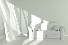 Modern Room Interior with white curtains and couch Stock Images