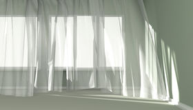 Modern  Room Interior with white curtains and sunlight. Empty room with sunlight shining through a window and the curtains developed by a wind Royalty Free Stock Images