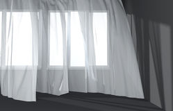 Modern  Room Interior with white curtains and sunlight Stock Image