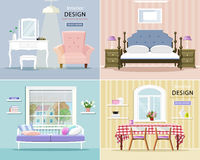 Modern room interiors set. Stylish graphic living room, bedroom and dining room. Vector illustration. Royalty Free Stock Photos