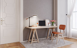 Modern room with  laptop computer on a desk,  home office worksp Royalty Free Stock Photo