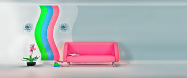 Modern room with pink sofa, sconce and grey wall Stock Photos