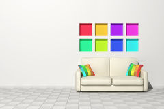 Modern room and sofa Royalty Free Stock Photography