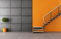 Modern room with staircase. And iron black panel without furniture - 3D Rendering Royalty Free Stock Photo