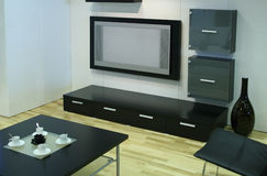 Modern room with tv stock images
