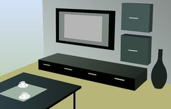 Modern room with tv vector Royalty Free Stock Images
