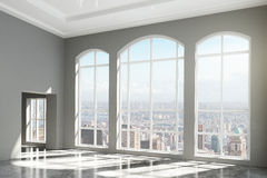 MOdern room with windows in floor and city view Stock Images