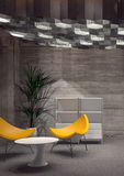 Modern Room with Yellow Chairs and White Table Royalty Free Stock Photo