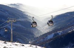 Modern ropeway at hill Chopok - Low Tatras, Slovakia Stock Photo