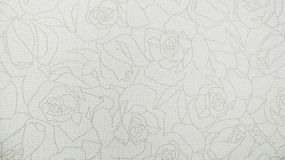 Modern Rose Floral Pattern White Fabric Background Stock Photo