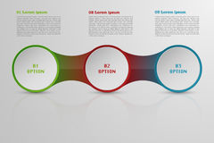 Modern roudned three steps infographics. Circle infographic with reflection three options and space for text Stock Image