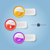 Modern round buttons and banners with texte. Can Royalty Free Stock Photo