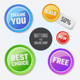 Modern round buttons with messages for your. Business website, online shop. Can be used in infographics, graphic, brochure, education or project book stock illustration