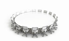 Meeting Table. Round Table 3D rendered illustration Royalty Free Stock Photos