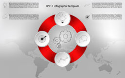 Modern rounded infographic. Circular timeline infographics. Modern rounded infographic with outline icons. Four steps infographic and world map background royalty free illustration