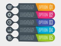 Modern rounded lines for business infographics. Vector template with 5 steps, parts, options, stages.  Royalty Free Stock Photo