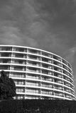 Modern rounded motif pattern of building in black and white Royalty Free Stock Image