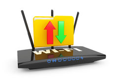 Modern Router with folder Royalty Free Stock Photography